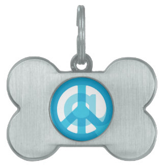 Medios sociales de la muestra azul del @Peace en Placas De Mascota