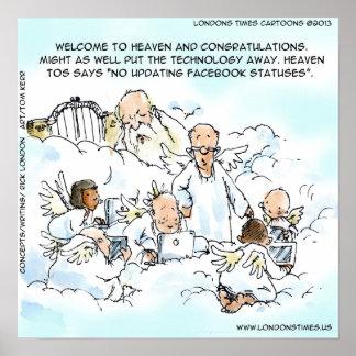 Medios sociales divinos divertidos posters