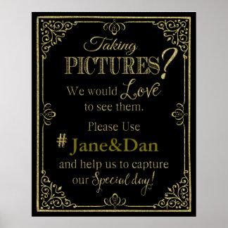 medios sociales que casan brillo elegante del oro póster
