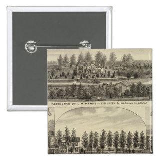 Medios, trucha y Sabins en Kansas Pin Cuadrada 5 Cm