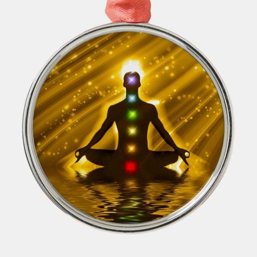 Meditación Adorno Redondo Plateado