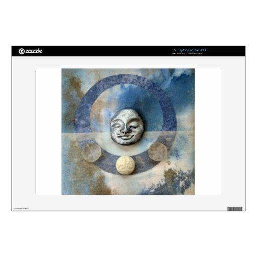 Meditación azul de Enso - collage Calcomanía Para 38,1cm Portátil