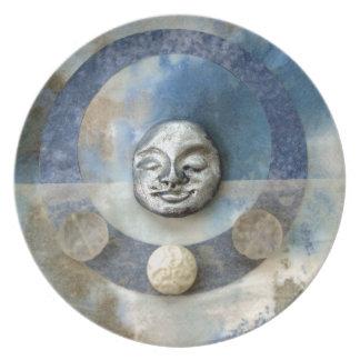 Meditación azul de Enso - collage Plato