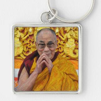 Meditación budista del Buddhism de Dalai Lama Buda Llavero Cuadrado Plateado