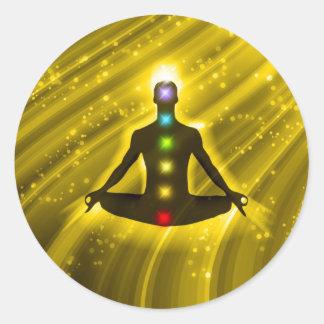 Meditación Chakras Pegatina Redonda