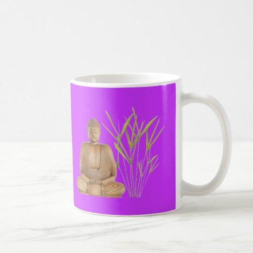 meditación de bambú taza básica blanca