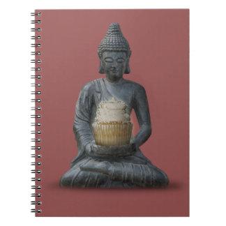 Meditación de Buda con el cuaderno de la magdalena