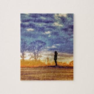 Meditación de la puesta del sol puzzles con fotos