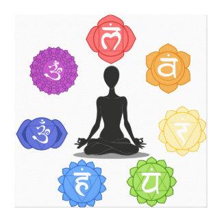 meditación de la yogui por completo… con símbolos  lona envuelta para galerías