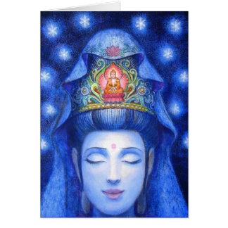 Meditación de medianoche Kuan Yin del zen Tarjeta De Felicitación