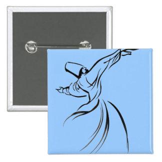 Meditación de Sufi (negro) Pin Cuadrado
