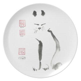 Meditación del gato del zen - Sumi-e [pintura de l Plato