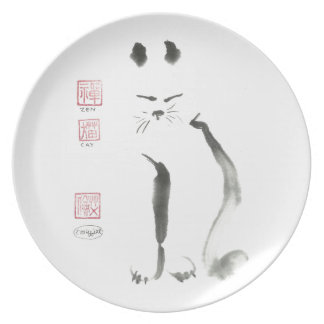 Meditación del gato del zen - Sumi-e [pintura de l Plato De Cena