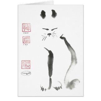 Meditación del gato del zen - Sumi-e [pintura de l Tarjeta De Felicitación