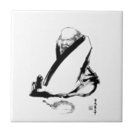 Meditación del zen de Daruma Azulejo Ceramica