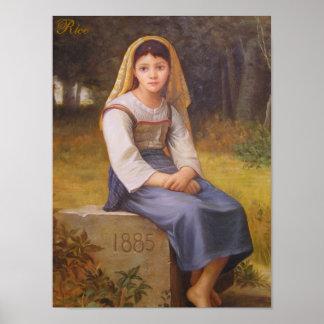 Meditación - impresión de la pintura al óleo en… - póster