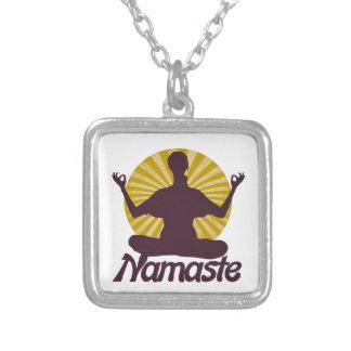 Meditación pacífica de Namaste Colgante Cuadrado