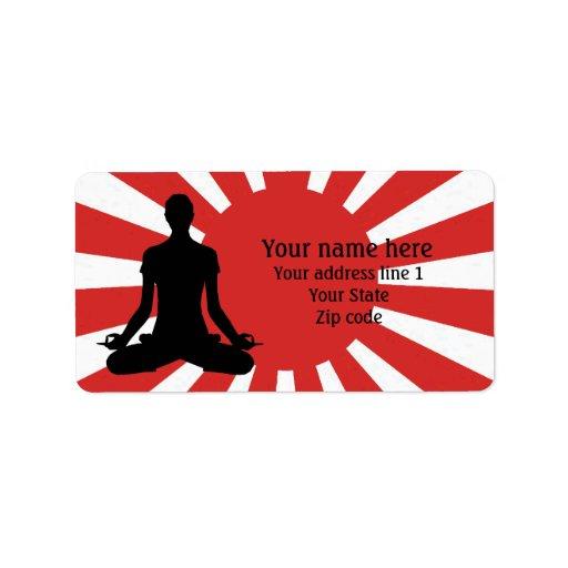 Meditación personalizada de la yoga 4 del sol etiquetas de dirección