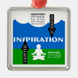 Meditación y rezo adorno navideño cuadrado de metal