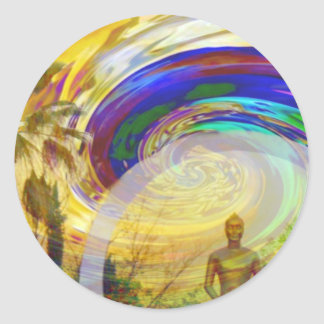 Meditaciones y Colors_ Pegatina Redonda