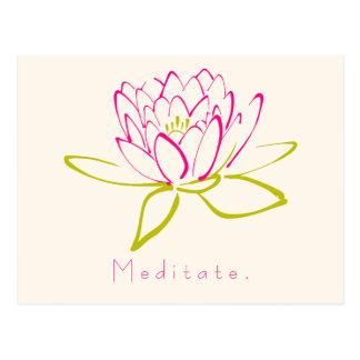 Meditate. Flor de Lotus Postal