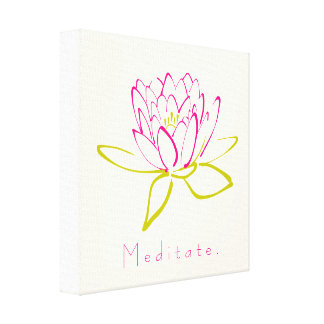 Meditate. Lotus Flower / Water Lily Illustration Canvas Print