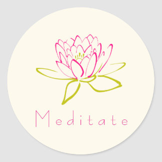 Meditate Lotus Flower / Water Lily Illustration Classic Round Sticker