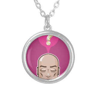 Meditate over a question silver plated necklace