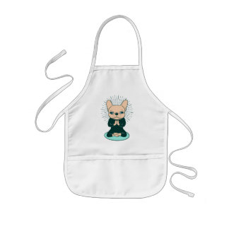 Meditate with the cute Frenchie to stay Zen Kids' Apron