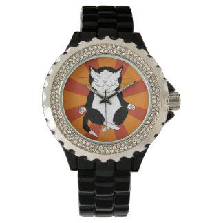 Meditating Black and White Cat Tuxedo Kitty Watch