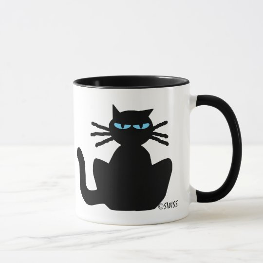 Meditating Black Cat with Blue Eyes Coffee Mug