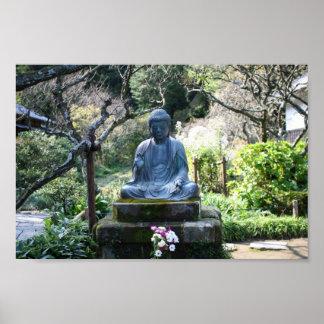 Meditating Buddha statue Poster