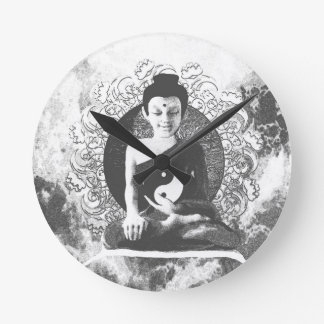 Meditating Buddha with Yin Yang Round Clock