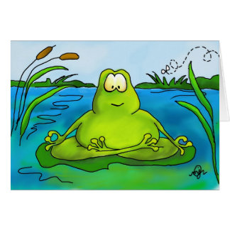 Meditating frog art print card