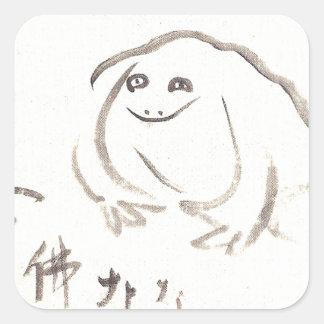 Meditating Frog by Sengai Square Sticker