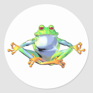 Meditating Frog Classic Round Sticker