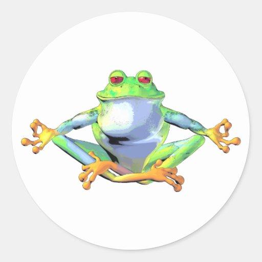 Meditating Frog Classic Round Sticker