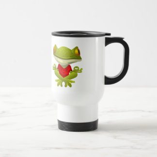 Meditating Frog in Red Shirt with Crossed Legs 15 Oz Stainless Steel Travel Mug