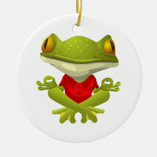 Meditating Frog in Red Shirt with Crossed Legs Ceramic Ornament