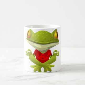 Meditating Frog in Red Shirt with Crossed Legs Classic White Coffee Mug