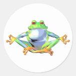 Meditating Frog Round Stickers