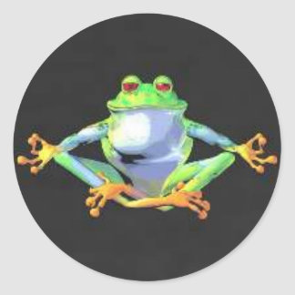 Meditating Frog Stickers Round Stickers