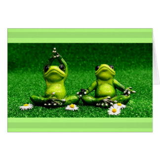 Meditating Frogs having a zen moment Card