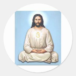 Meditating Jesus with Om Classic Round Sticker