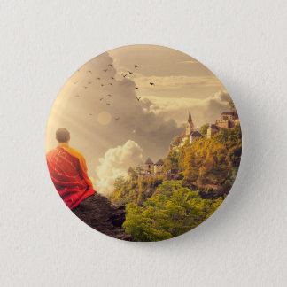 Meditating Monk Before Large Temple Button