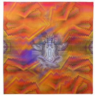 Meditating Owl Floating Rest Balance Art Cloth Napkin