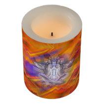 Meditating Owl Floating Rest Balance Art Flameless Candle