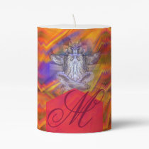 Meditating Owl Floating Rest Balance Art Monogram Pillar Candle