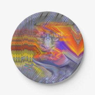 Meditating Owl Floating Rest Balance Art Paper Plate