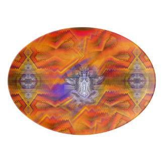Meditating Owl Floating Rest Balance Art Porcelain Serving Platter